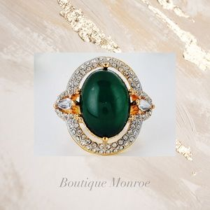 ‼️SALE‼️18K Gold Dipped Emerald Cocktail Ring